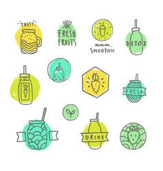 smoothie badges set vector image