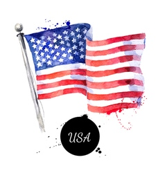 Watercolor usa flag hand drawn flag of america on vector