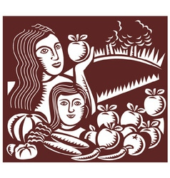 woman and child apple vector image vector image