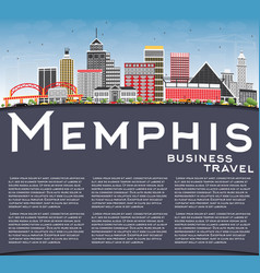memphis skyline with color buildings blue sky and vector image