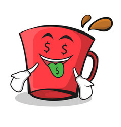 money mouth red glass character cartoon vector image vector image