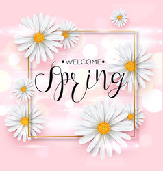 Pink spring background with realistic chamomile vector