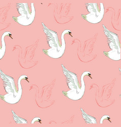 seamless pattern with white swans vector image vector image