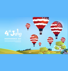 united states flag colored air balloons flying in vector image
