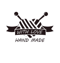 hand made with love logotype design of thread and vector image vector image