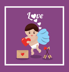 love cupid heart mail message arrow vector image