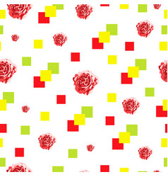 seamless pattern with roses and squares vector image vector image