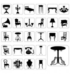 antique furniture set vector image vector image