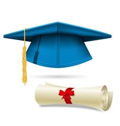 Cyan mortarboard and diploma - graduation cap vector image