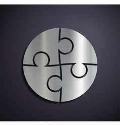 Flat metallic logo puzzle vector image