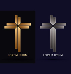 gold and silver cross vector image vector image