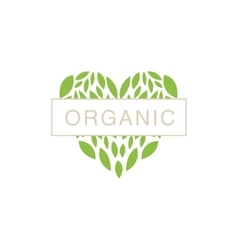 Heart With Text In Middle Organic Product Logo vector image