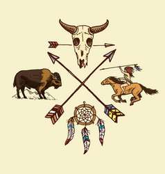 indian or native american horseback arrows and vector image