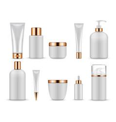 plastic white blank bottles and tubes for vector image