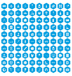 100 development icons set blue vector image