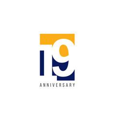 19 th anniversary celebration template design vector