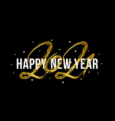 2021 happy new year ox hand drawn text vector image
