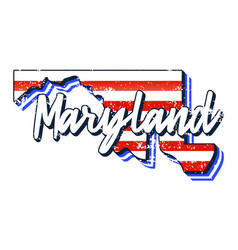 american flag in maryland state map grunge style vector image