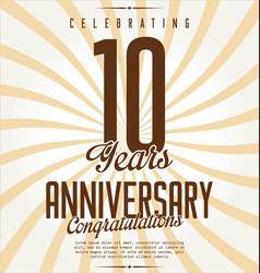 Anniversary retro background 10 years vector