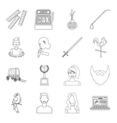 Army sport animal and other web icon in outline vector