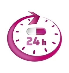 Around the clock take drugs icon vector