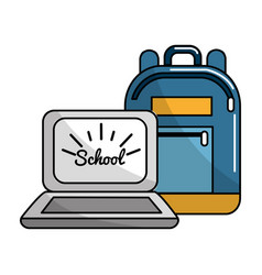 Bag and school tools icon vector