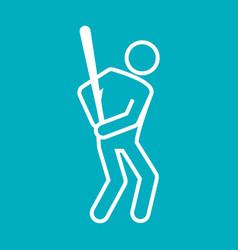 baseball sport figure outline symbol graphic vector image