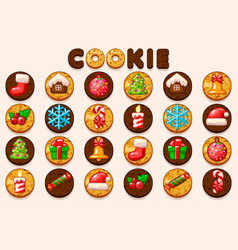 big set christmas and new year cookies vector image