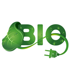 Bio symbol and green leaf vector