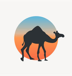 Black color camel silhouette on circle back vector