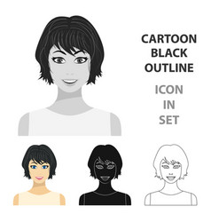 Black hair woman icon in cartoon style isolated on vector