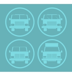 Blue Cars Icon Set vector image