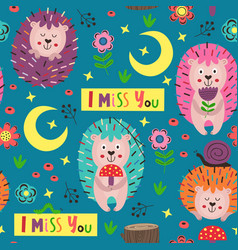 blue seamless pattern with colorful hedgehogs vector image