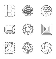 bun icons set outline style vector image