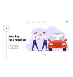 Business car sharing service website landing page vector