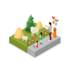 Cage with sheeps isometric 3d icon vector