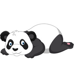 Cartoon funny panda lying down vector