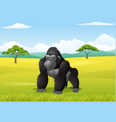 cartoon gorilla in the savanna landscape vector image