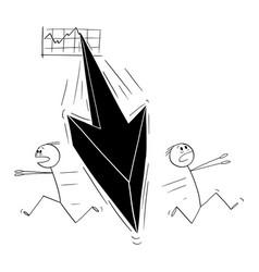 Cartoon two men or businessmen running away in vector