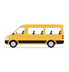 Cartoon yellow minibus passengers vector