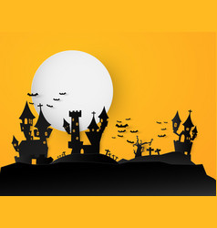 castle halloween text banner background paper cut vector image