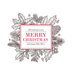 christmas card happy new year background vector image