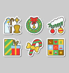 Christmas new year icon sticker set isolated vector