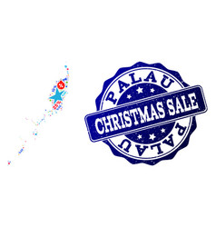 christmas sale collage of mosaic map of palau vector image