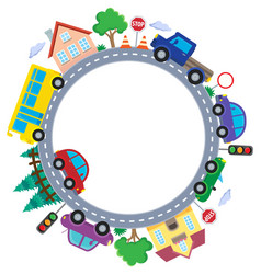 Circle with cars theme image 1 vector