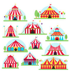 Circus tent marquee with stripes and flags vector
