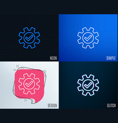 cogwheel line icon approved service sign vector image