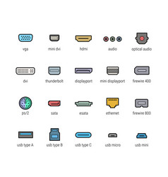 Computer ports icon set vector