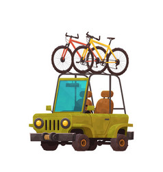 cool car with bicycles on top rack isolated vector image