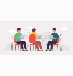 coworking studio with people sitting at table vector image